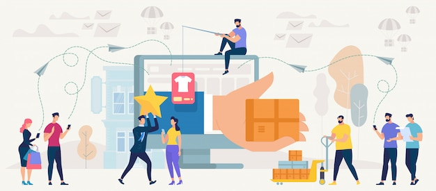 Online shopping and networking. vector. Premium Vector