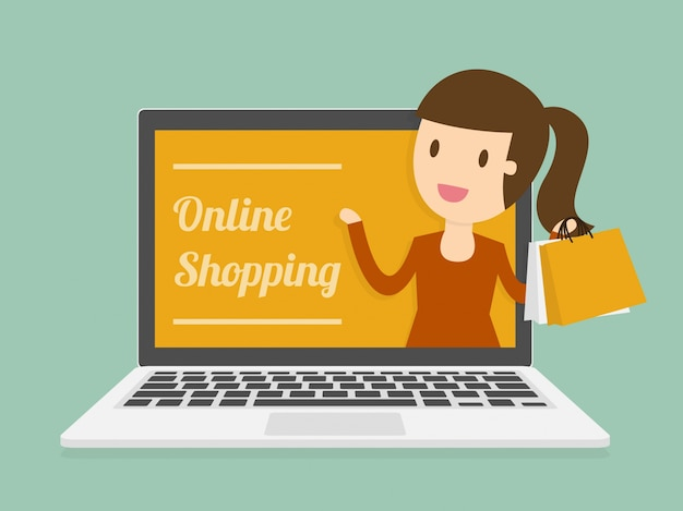 Online shopping on laptop vector free download for Online websites for shopping