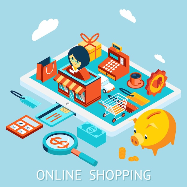 태블릿 컴퓨터에서 온라인 쇼핑. 주문, 판매, 자금 수령 및 배송. 무료 벡터