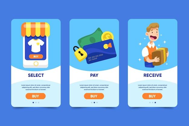 온라인 쇼핑 온 보딩 앱 화면 무료 벡터