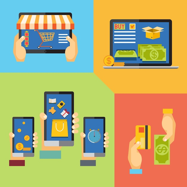 Shopping online per negozio online, aggiungi al carrello, metodi di pagamento Vettore gratuito