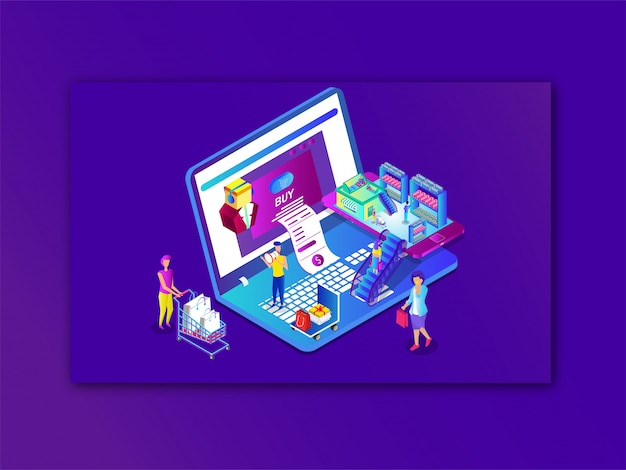 Online shopping or payment from laptop and smartphone Premium Vector