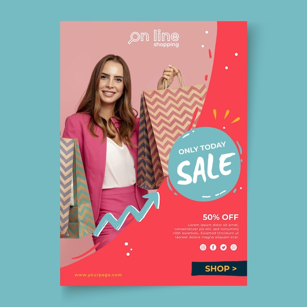 Online shopping poster template Premium Vector
