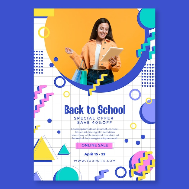 Online shopping poster template Free Vector