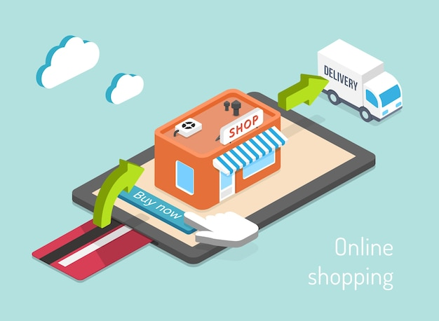 Online shopping. purchase, payment and delivery 3d infographics Free Vector