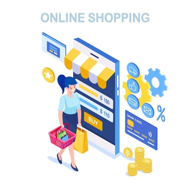 オンラインショッピング、販売コンセプト。インターネットで小売店で購入します。バスケット、バッグ、携帯電話、スマートフォン、お金、クレジットカードで等尺性の女性 Premiumベクター