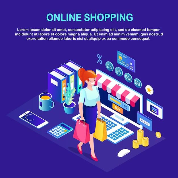 オンラインショッピング、販売コンセプト。インターネットで小売店で購入します。パッケージ、バッグ、コンピューター、お金、クレジットカード、電話で等尺性の女性。 Premiumベクター