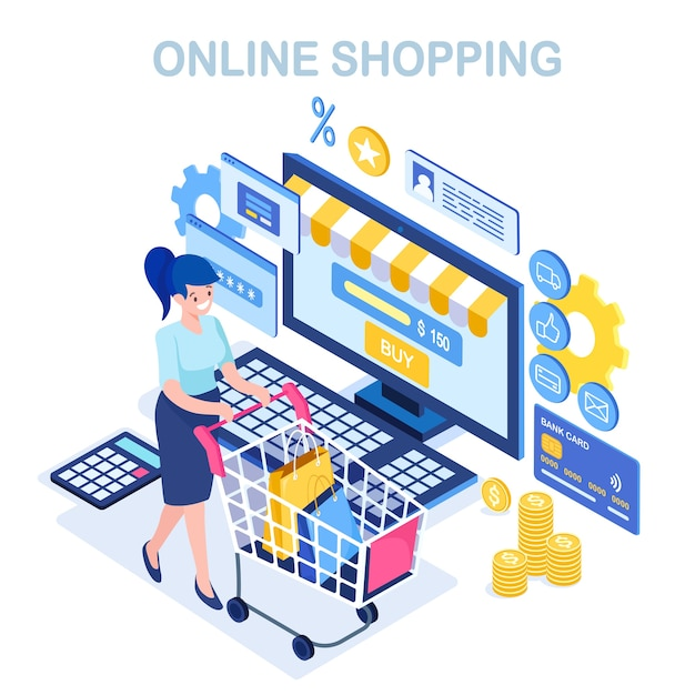 Online shopping , sale concept. buy in retail shop by internet.  isometric woman with cart, trolley, bag, computer, money, credit card, calculator. Premium Vector