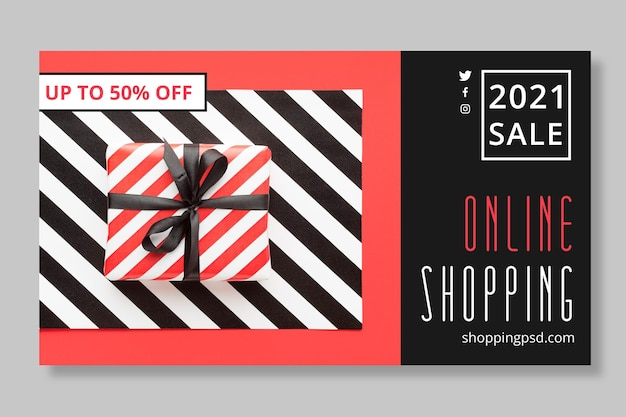 Online shopping and sales banner template Free Vector