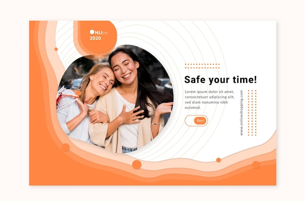 Online shopping service banner web template Free Vector