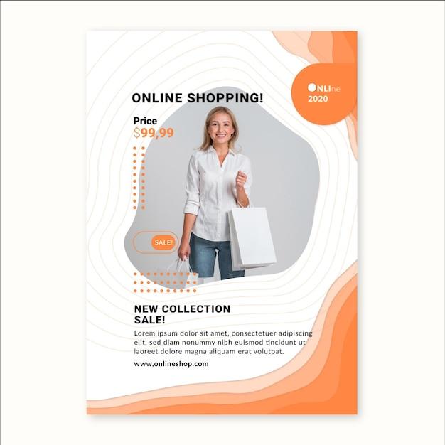 オンラインショッピングサービスの縦型チラシテンプレート 無料ベクター