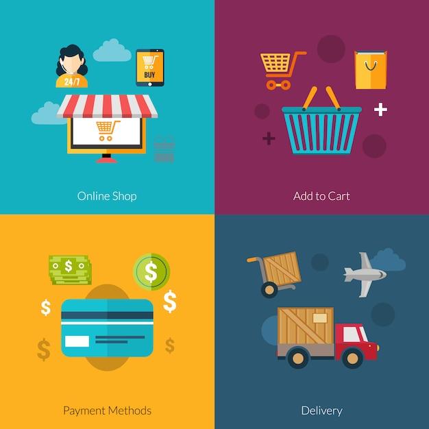 Online shopping set Free Vector