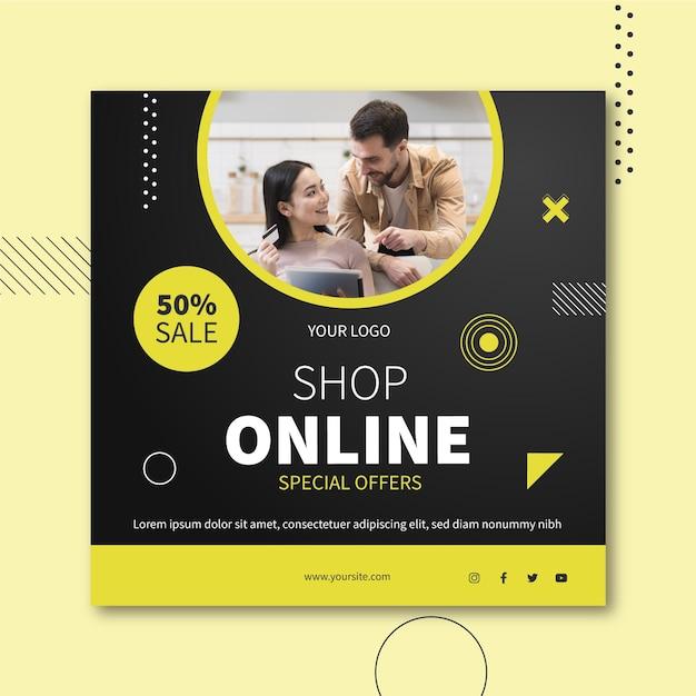 Интернет-магазин квадратный флаер Бесплатные векторы