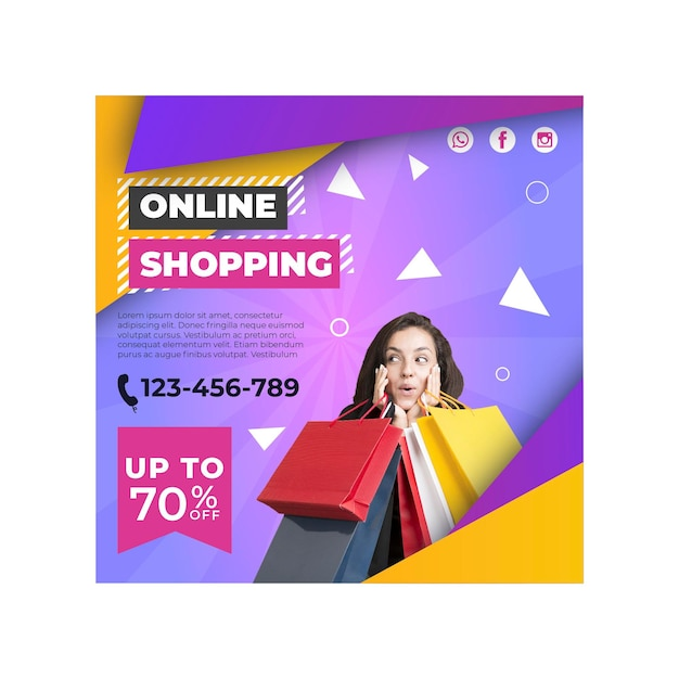 Online shopping square flyer template Premium Vector