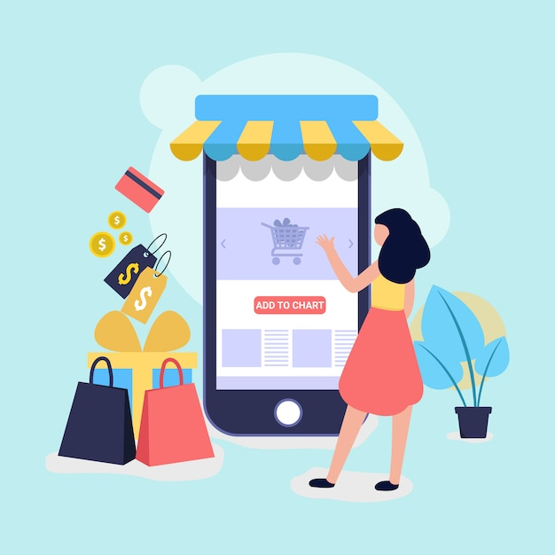 Online shopping and store illustration for website Premium Vector
