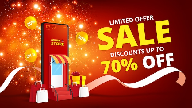 Online shopping store with mobile application.digital marketing and sale banner background. Premium