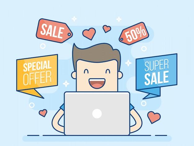 Online shopping super sale. Premium Vector