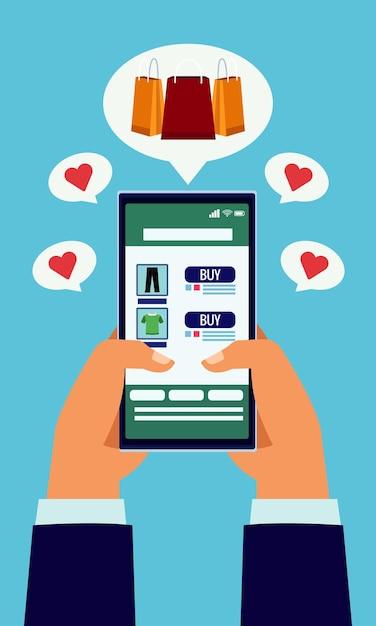 Технология онлайн-покупок руками с помощью смартфона и сумок Premium векторы