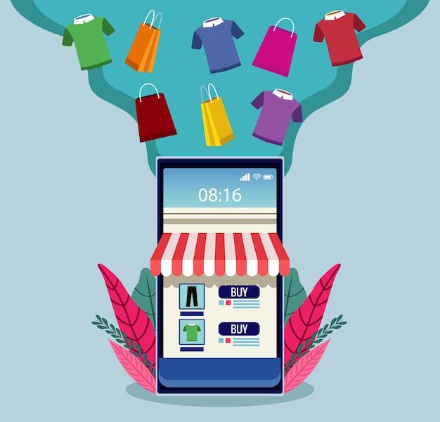 Технология онлайн-покупок с иллюстрацией смартфона и рубашек Premium векторы