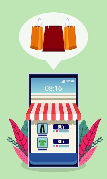Технология интернет-покупок с фасадом магазина в смартфоне и иллюстрации листьев Premium векторы