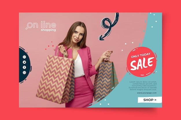 Online shopping template banner Free Vector