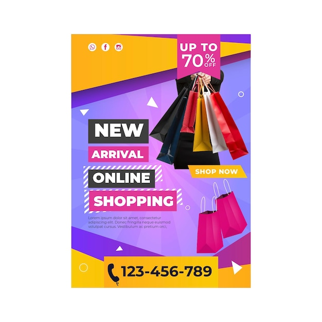 Online shopping template poster Free Vector