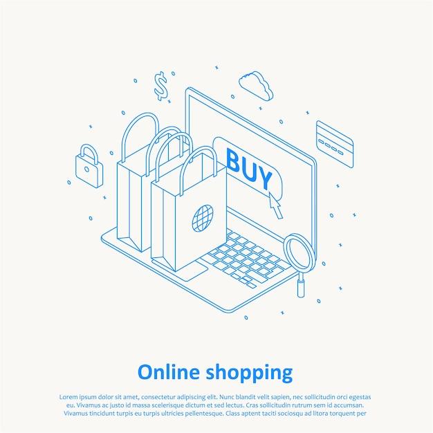 オンラインショッピングの細線デザインのeps 10 Premiumベクター