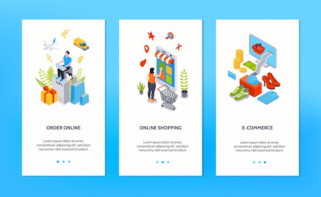 Online shopping vertical banners with people ordering goods online by internet isometric Free Vector