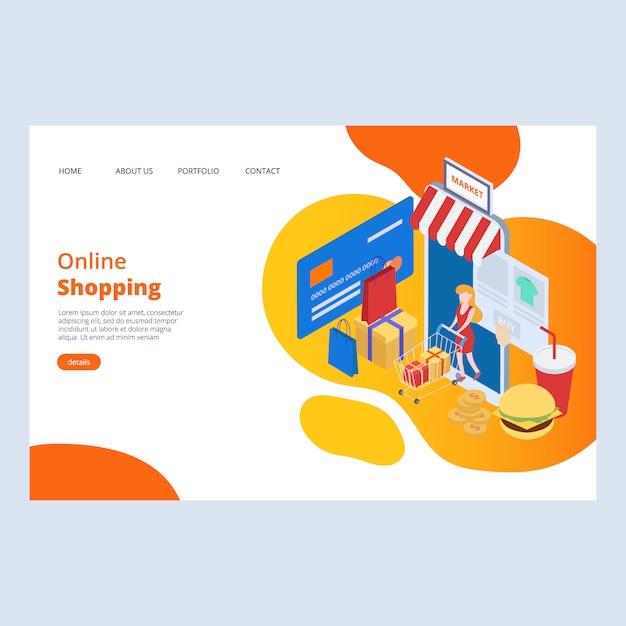 オンラインショッピングwebページデザインテンプレート Premiumベクター