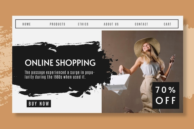 Online shopping with discount landing page Free Vector