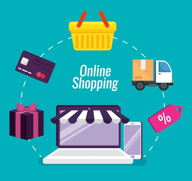 Free Vector | Online shopping with laptop and smartphone technology