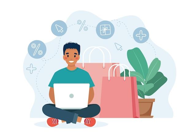 컴퓨터와 큰 화면, 판매 개념 남자 캐릭터와 함께 온라인 쇼핑. 프리미엄 벡터