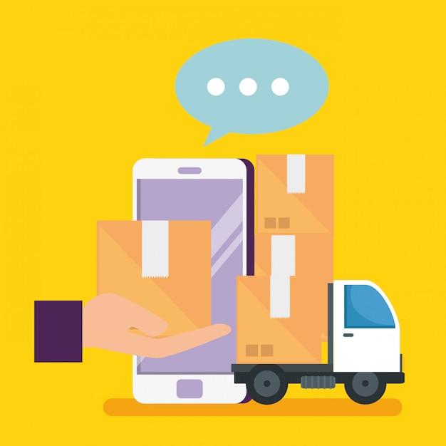 Online shopping with smartphone and packages with delivery Free Vector