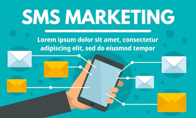 Online sms marketing concept banner Premium Vector