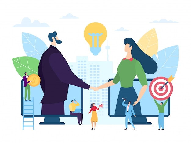 Online startup business partnership, illustration. man woman character handshaking through smartphone screens. digital Premium Vector