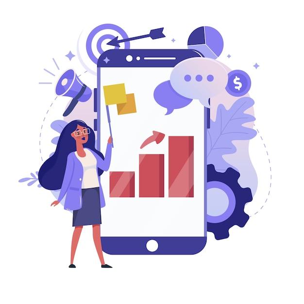 オンライン統計とモバイル分析フラットイラスト。ビジネスデータ分析のカラーデザイン。スマートフォンと画面上のカラフルなメタファー、白い背景で隔離のグラフレポートを持つ女性。 Premiumベクター