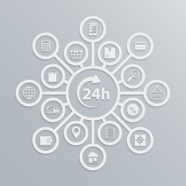 온라인 상점 24 시간 고객 서비스 다이어그램, 전자 상거래 웹 사이트 작동 방법 벡터 일러스트 레이션 무료 벡터