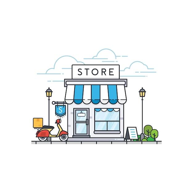 Online store building Premium Vector