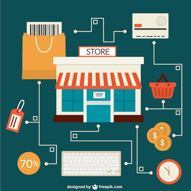 Online store concept vector vector free download for Online store for shopping