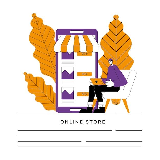 Иллюстрация интернет-магазина Premium векторы