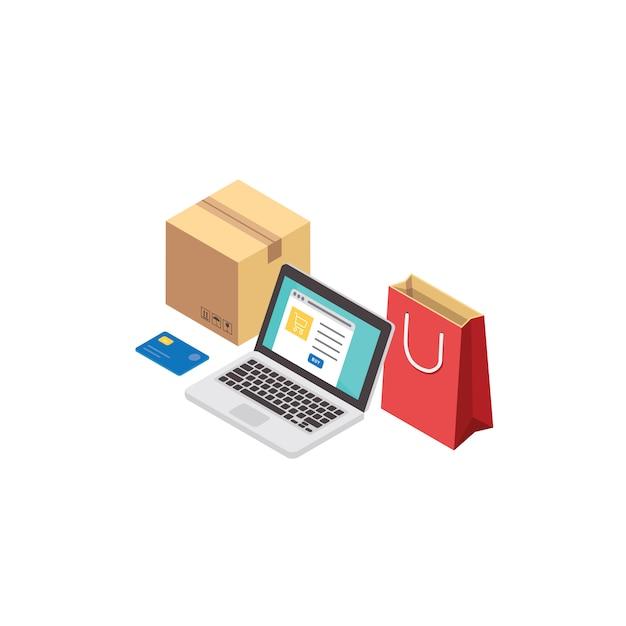 Интернет-магазин и концепция онлайн покупок. электронная коммерция и служба доставки изометрии Premium векторы