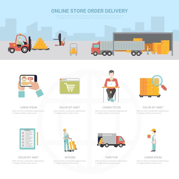 Online store order delivery infographics shipping transportation e-commerce business Premium Vector