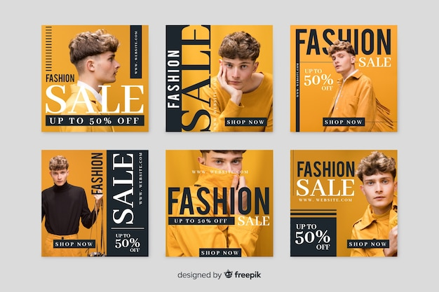 Online store with promotional collection template Free Vector