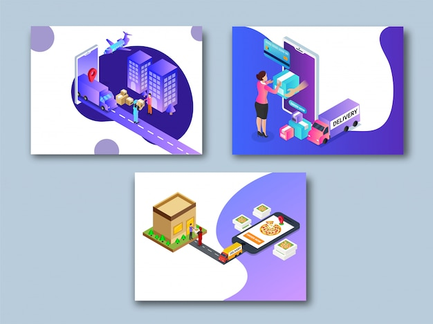 Online super fast delivery template collection. Premium Vector
