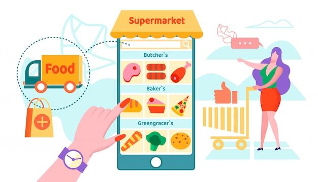 Online supermarket Premium Vector