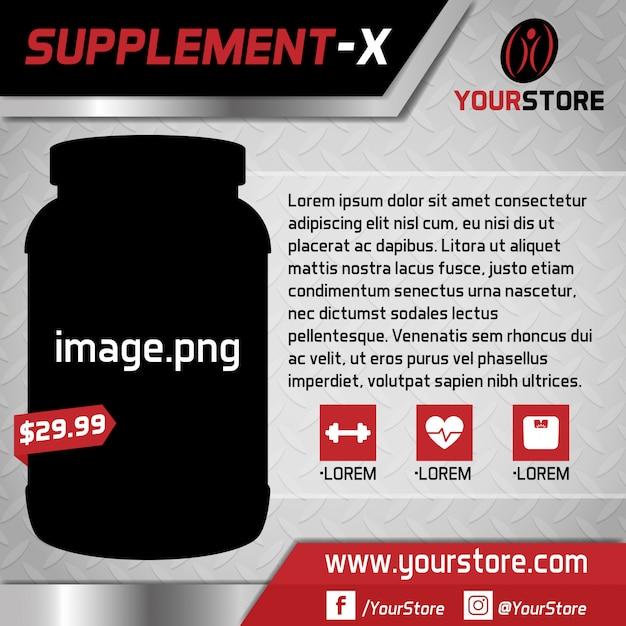 Online supplement store background Premium Vector