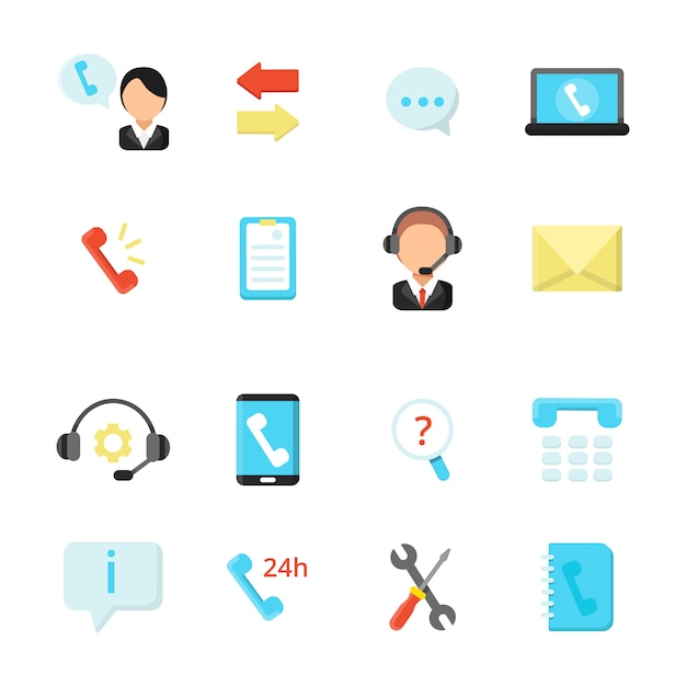 Online support and call center icons. vector symbols in flat style Premium Vector