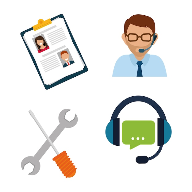 Online support concept with icon design Premium Vector