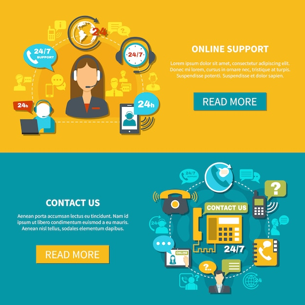 Online support horizontal banners Free Vector