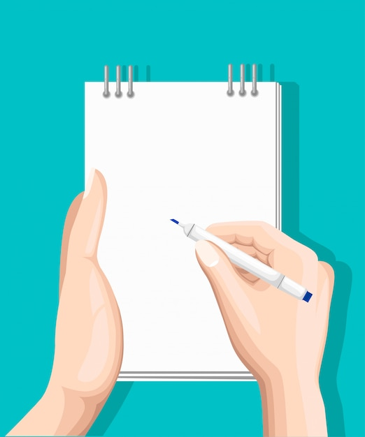 Онлайн опрос, контрольный список. рука держит планшет и палец сенсорный вертикальный экран. обратная связь бизнес-концепция. иллюстрация шаржа плоская изолированная на сини. минималистичный дизайн для сайта, мобильного приложения Premium векторы